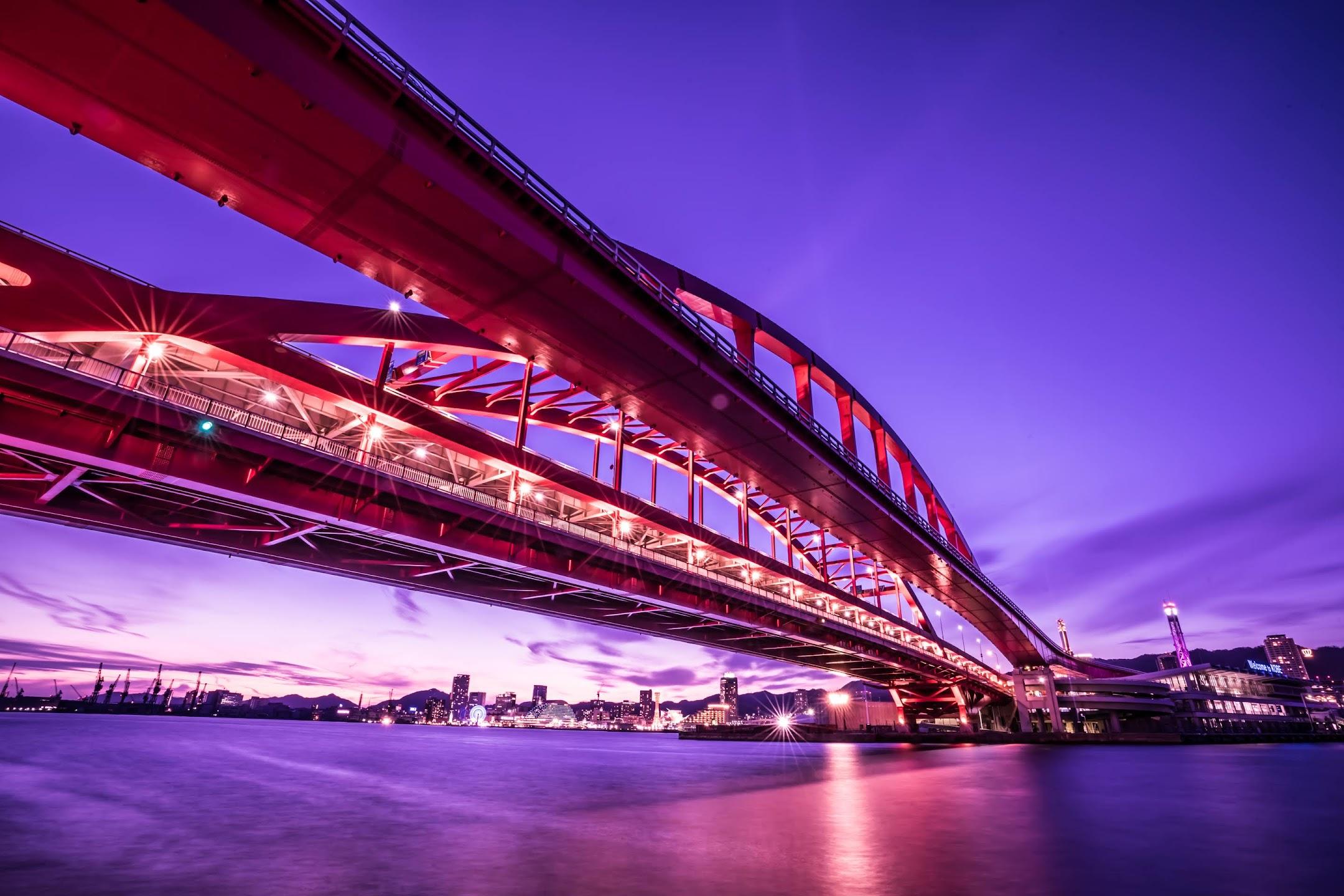 Kobe Great Bridge light-up2