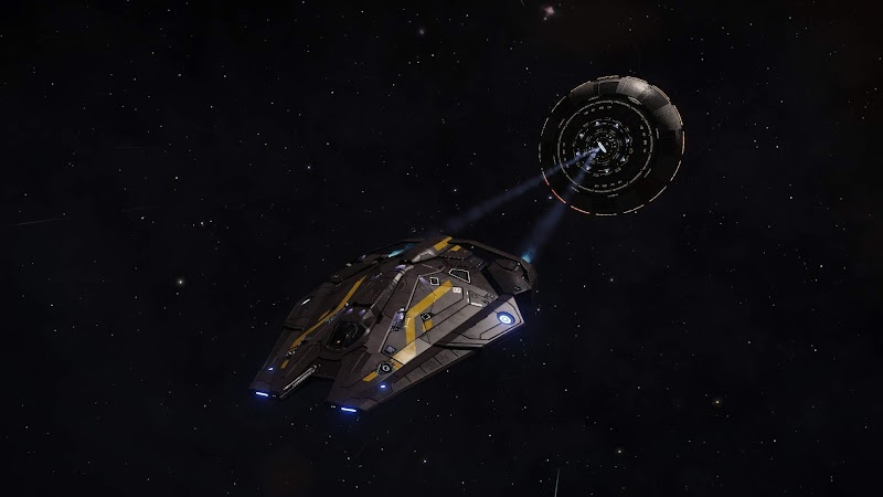 Screenshot of a ship leaving a space station in Elite Dangerous