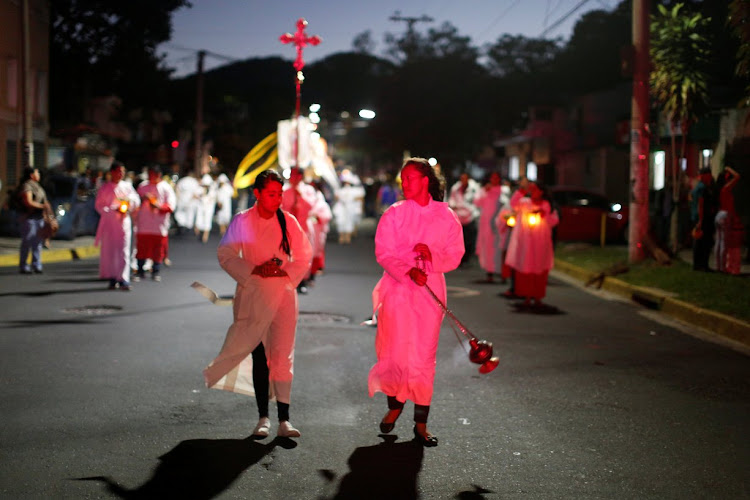 Catholic faithfuls in the celebration of the Day of the Virgin of Guadalupe in San Salvador, El Salvador.