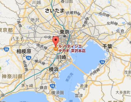 地図:ル パティシエ タカギ 深沢本店