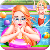 Fun Pool Party - Sun & Tanning in Swimming Pool