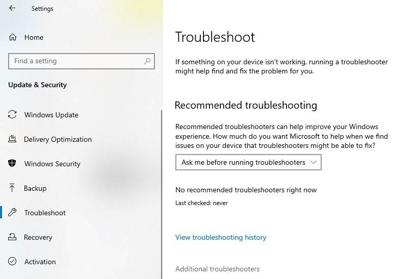 Troubleshoot page in Windows Settings