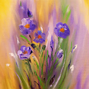 Fields of Summer by Amas Art - Painting All Painting ( field, purple, summer, painting, flower, oil )