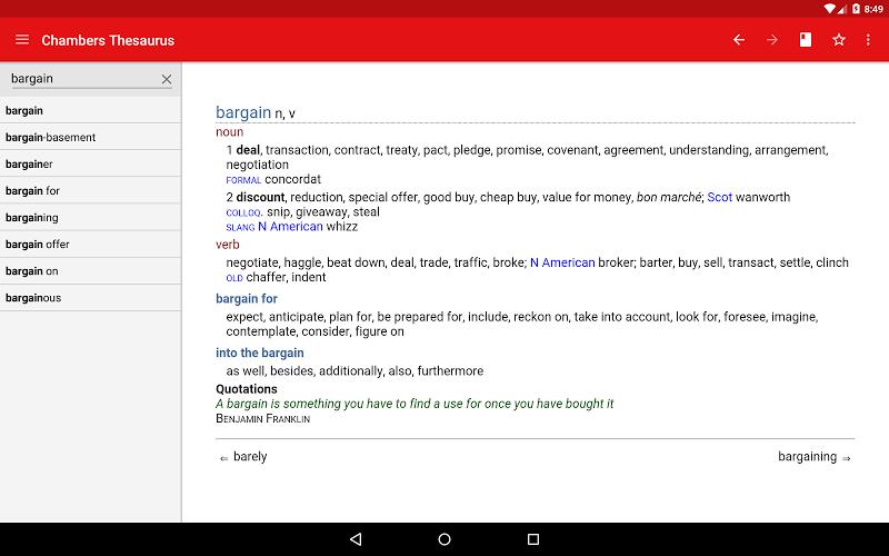 Chambers Thesaurus Screenshot 6