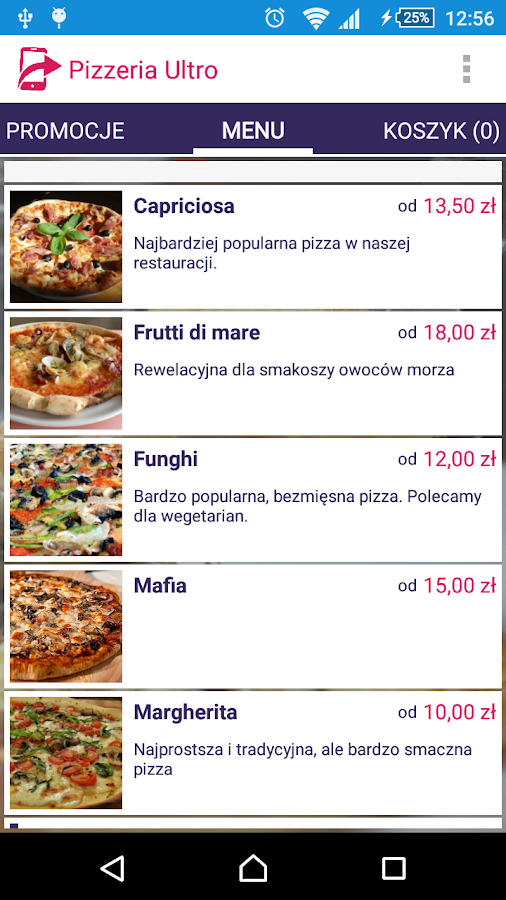 menu2go- screenshot