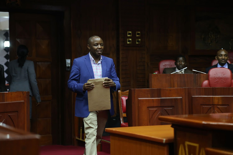 Simon Mbugua appears before the EALA interviewing panel in Parliament on May 11,2017.