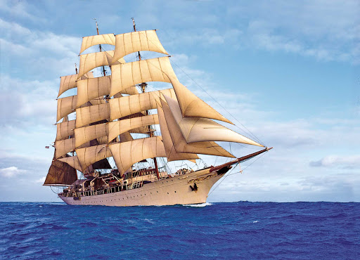 sea-cloud-sailing.jpg - Sail the Mediterranean or Caribbean aboard the classic sailing ship Sea Cloud on a Lindblad Expeditions vacation.