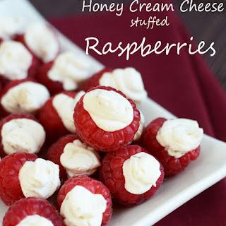 Honey Cream Cheese Stuffed Raspberry Bites