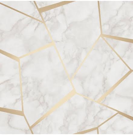 Tapet Marmor med grafiska metalliska detaljer FD42265 - Grå/guld