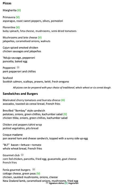 Fenix, The Oberoi menu 9