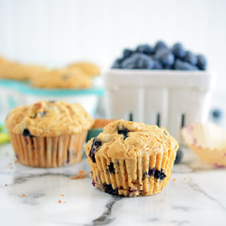 Reduced Sugar Blueberry Muffins.