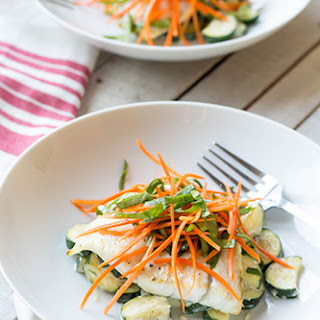 Barramundi with Creamed Zucchini with Sorrel Tarragon Carrot Salad
