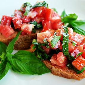 Bruschetta by Daniela Elena - Food & Drink Plated Food ( olive oil, italian appetizer, snack toast, tomato bruschetta, beautiful foos, basil )