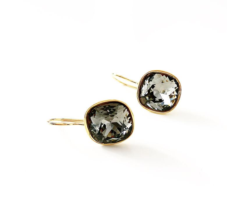 Örhängen fyrkantiga med Swarowski® kristaller Donna Black Diamond
