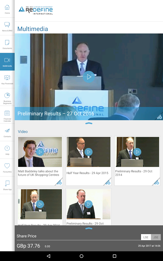 Redefine International IR App- screenshot