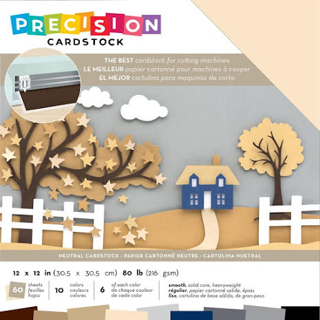 American Crafts Precision Cardstock Pack 12X12 60/Pkg - Neutral Smooth