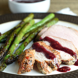 Peppercorn and Garlic Pork Roast with Blackberry Sauce