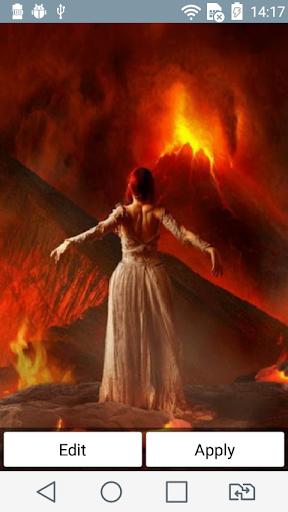 Girl and volcano live wallpape