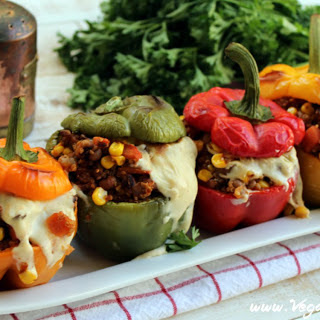 Santa Fe Roasted Stuffed Peppers With Spicy Cashew Mozzarella [Vegan].