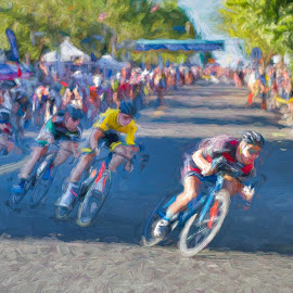 Road Race by Garry Dosa - Digital Art People ( racing, motion, race, roadrace, cycling, abstract, people, speed, outdoors, tour de white rock, men, action, bicycles )