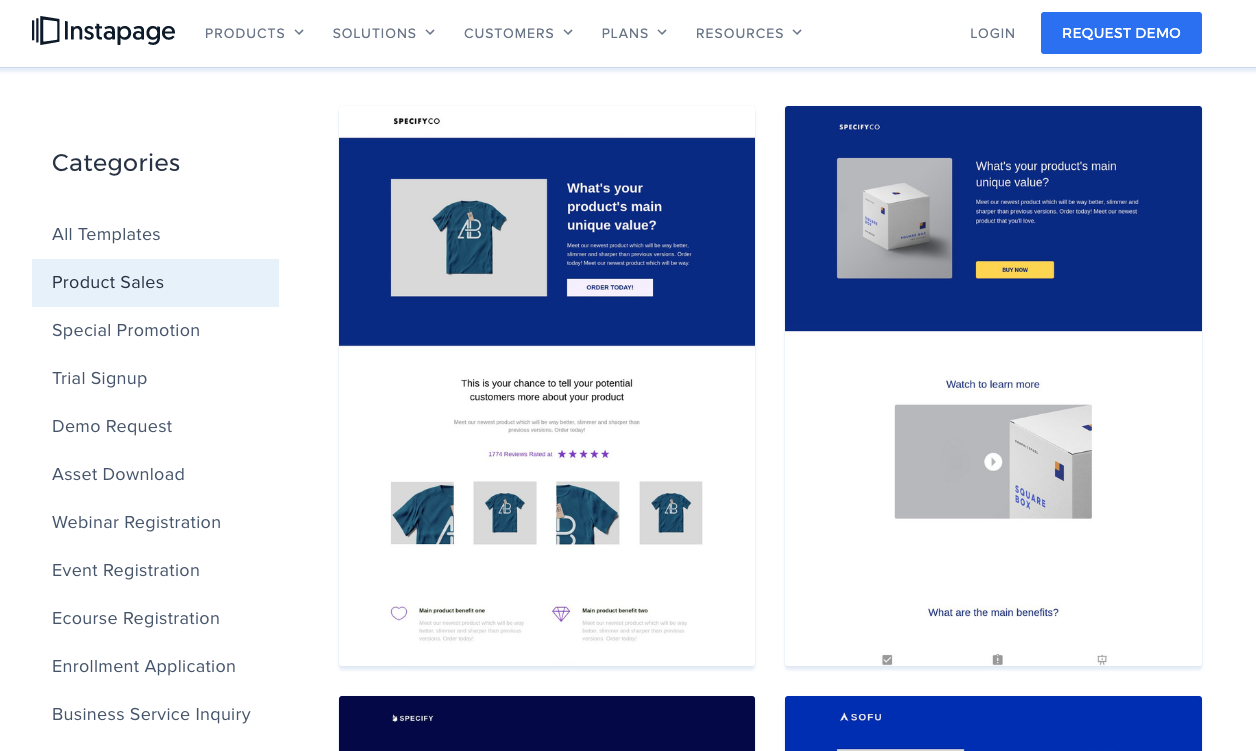 Instapage's templates
