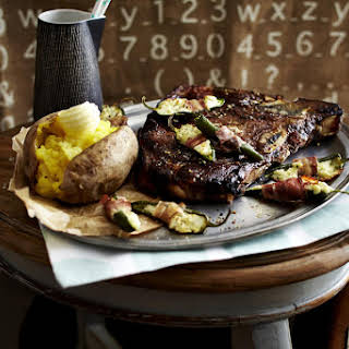 T-Bone Steak with Stuffed Chilies and Baked Potatoes.