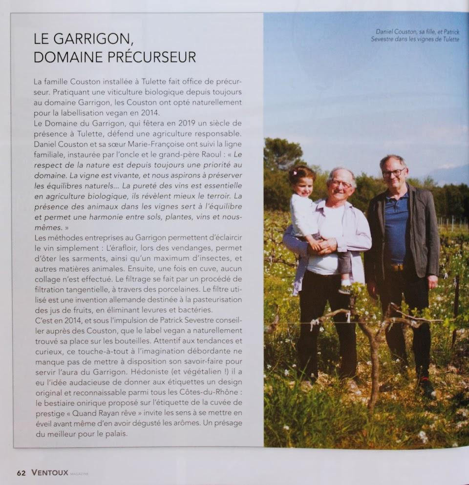 Le garrigon, Domaine Précurseur