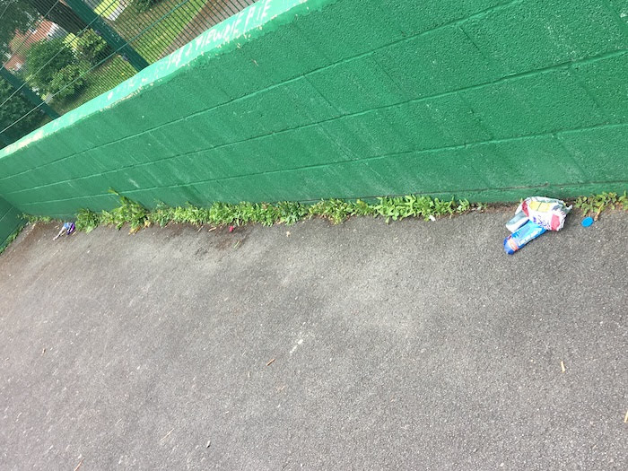 Bloodied tissues and litter strewn in play area