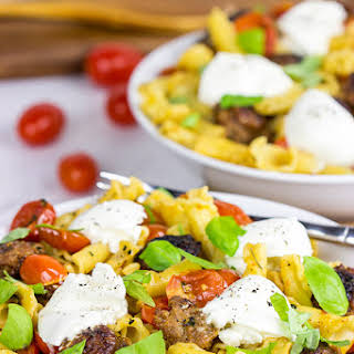 Sausage and Basil Campanelle with Burrata.