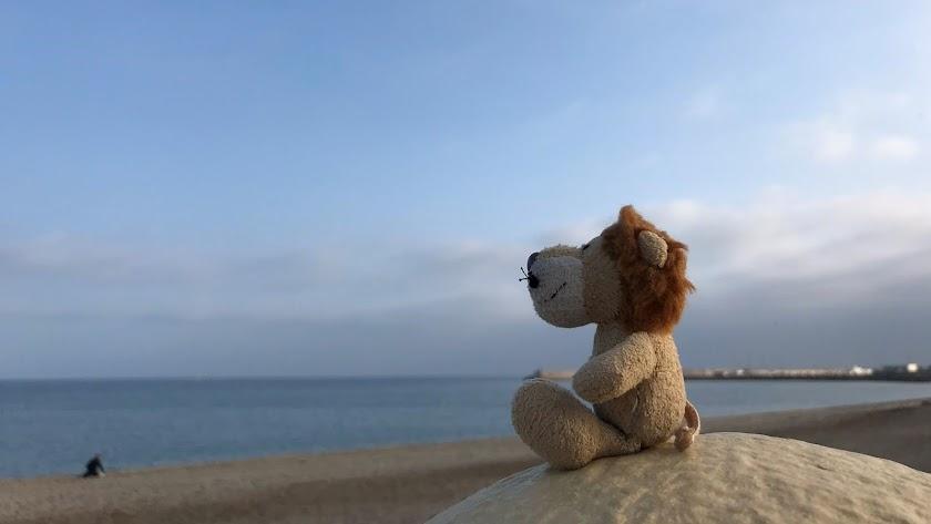 Loewe posa en una playa de Almería.