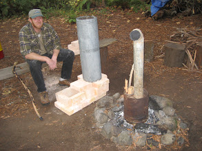 Photo: Ernie and the Demo Stoves:  Rocket Core, Pocket Rocket, Campfire