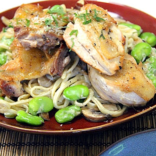 Pan-Seared Chicken with Fettuccine Cream Sauce.