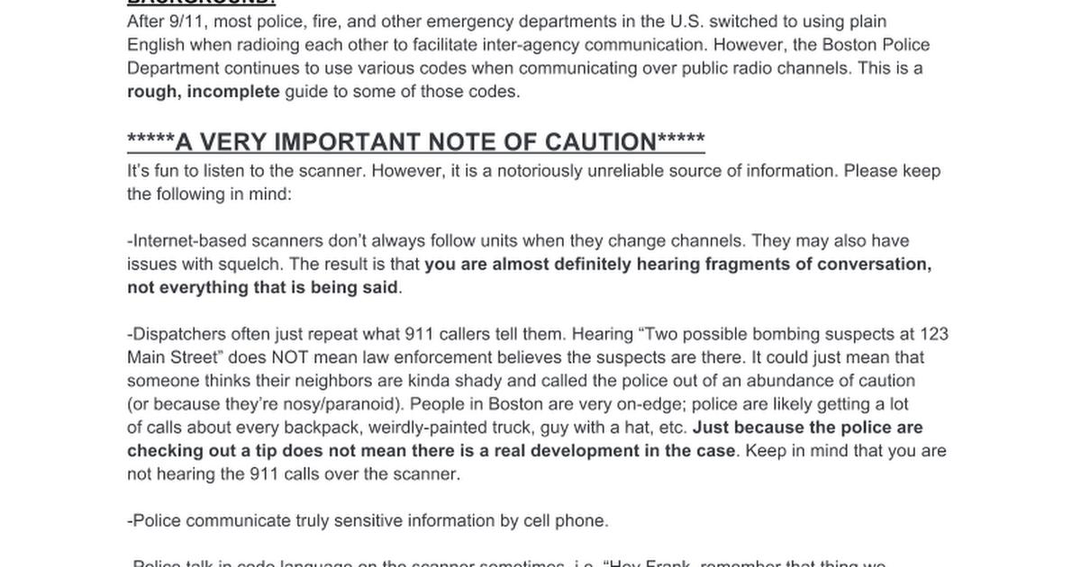 Boston Police Department - Scanner guide - Google Docs