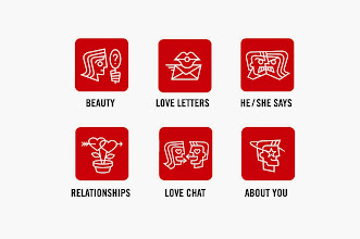 "Photo: Social Icon Designs - ""Beauty, Love Letters, He/She Says, Relationships, Love Chat, About You"""