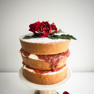 Victoria Sandwich Cake with Rhubarb and Rose Petal Jam.