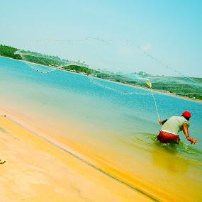 hoping for a good catch  by Usman Irani - Landscapes Beaches ( fishermen, goa, south goa, fishing, beach, net,  )