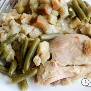 Crockpot Chicken & Stuffing Dinner.