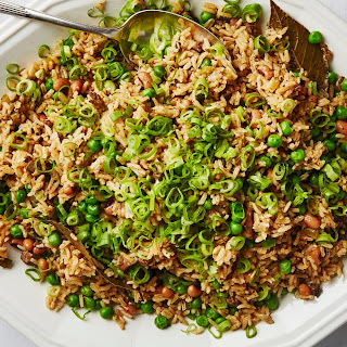 Dirty Rice with Black-Eyed Peas and Scallions.