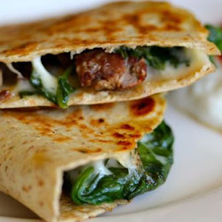 Steak and Spinach Quesadilla with Provolone