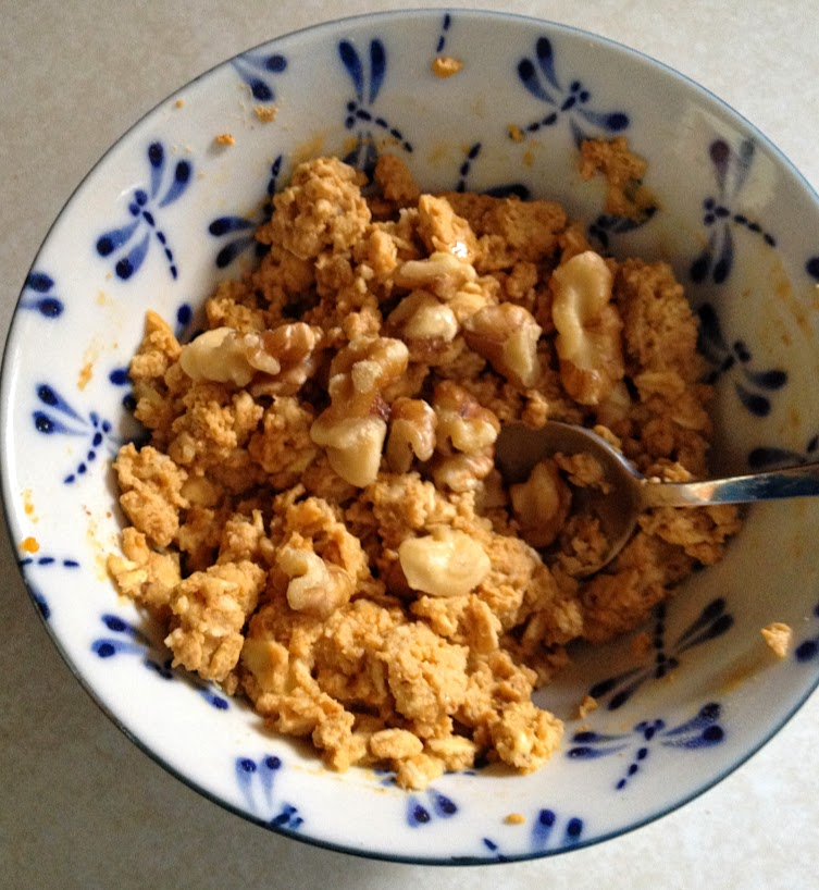 Pumpkin protein oatmeal with walnuts