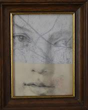 Photo: STRATIGRAFIE 01 grafite carta da lucido, vecchia mappa, vecchio cartoncino e cornice anni '50 con vetro bombato presso Galleria La Torena  Cortona (AR) © tutti i diritti riservati