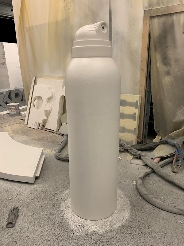 Blowup uitvergroting spuitbus fles