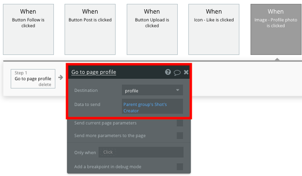 Sending data to a Dribbble user profile in a no-code clone