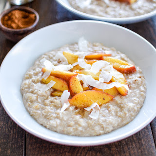 Coconut Breakfast Pudding with Sautéed Nectarines.