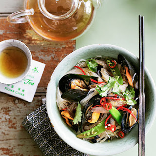 Stir-fried Bean Thread Noodles With Black Bean And Chilli Mussels.