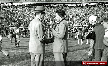 Photo: Shaking hands on the field after Oklahoma's 35-0 win over LSU in the 1950 (1949 season) Sugar Bowl.