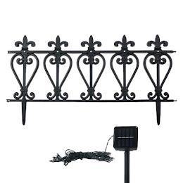 Gard decorativ cu instalatie solara LED, set 5 bucati