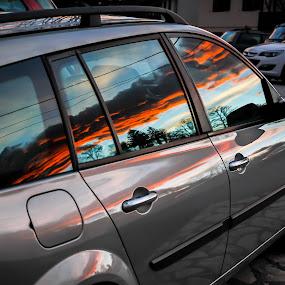 Red cloud by Leo Štefanac - Transportation Automobiles ( clouds, car, reflection, sky, sunset,  )