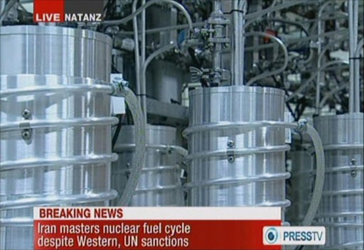 An image grab taken from a broadcast on February 15, 2012 on the state-run Press TV shows centrifuges at Iran's Nantanz nuclear site. File photo.