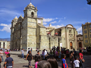 Photo: The cathedral with native Oaxacan green stone stands at one corner of the zocolo.